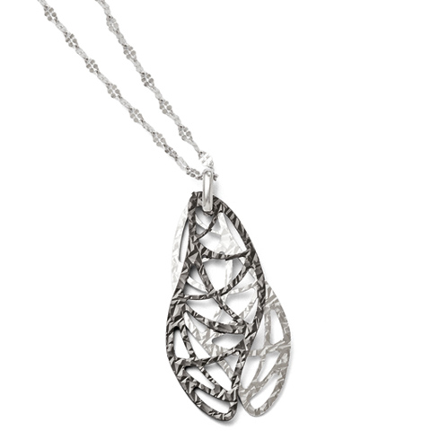 Sterling Silver Ruthenium-plated 18in Textured Leaf Necklace