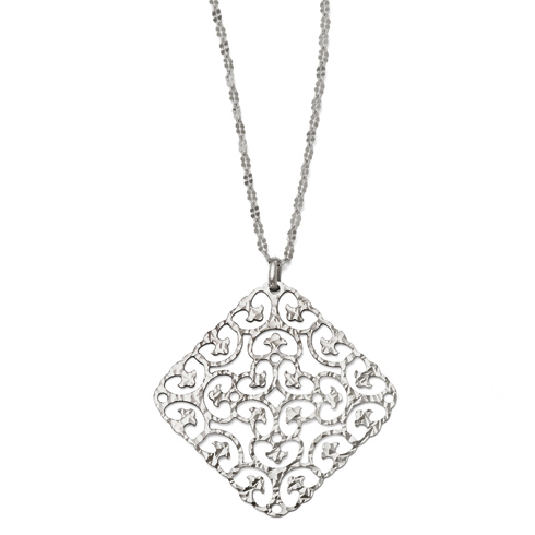 Sterling Silver Textured Square Necklace