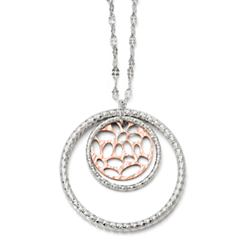Sterling Silver Rose Gold-plated 18in Textured Cut Through Necklace