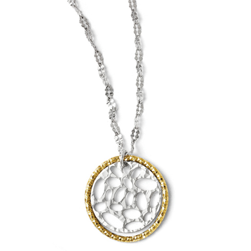 Sterling Silver Gold-plated 18in Round Textured Cut Through Necklace
