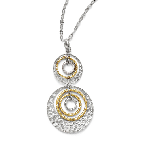 Sterling Silver Gold-plated 18in Textured Two Circles Necklace