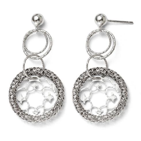 Sterling Silver Textured Multi Hoop Dangle Earrings
