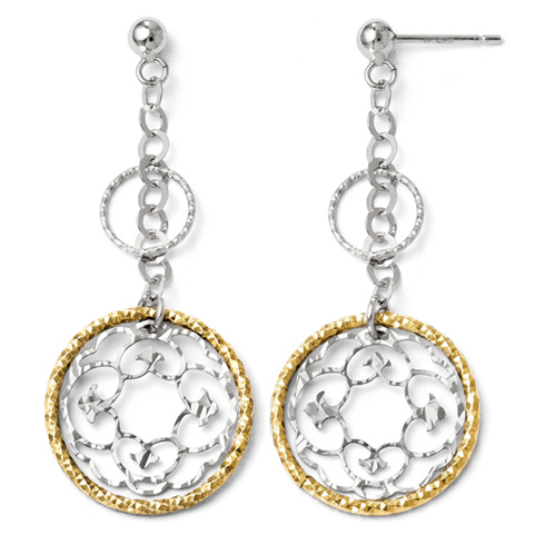 Sterling Silver Gold-plated 18in Textured Circles Dangle Earrings