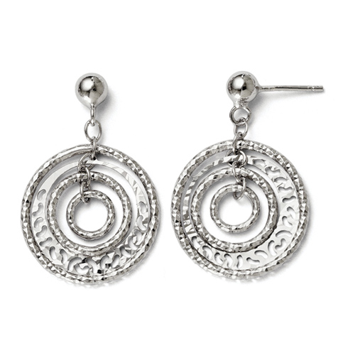 Sterling Silver  Circle and Ball Post Dangle Earrings
