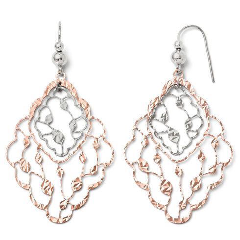 Sterling Silver Rose Gold-plated Textured Leaf Dangle Earrings