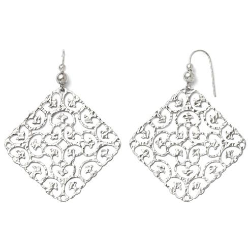 Sterling Silver Square Shepherd Hook Dangle Earrings