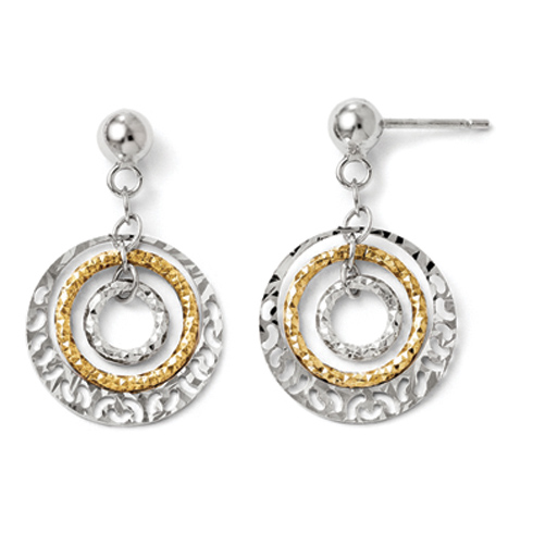 Sterling Silver 14k Yellow Gold-plated Round Dangle Earrings