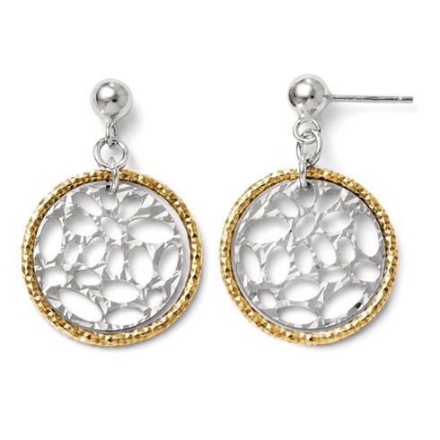 Sterling Silver Gold-plated 18in Round Textured Cut Through Earrings