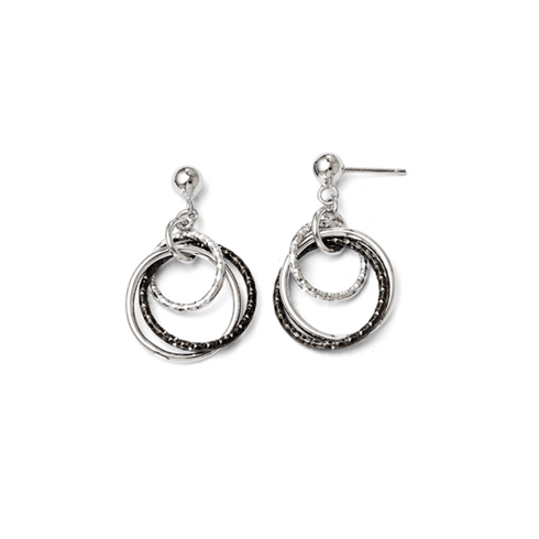 Sterling Silver Triple Tone Ring Earrings