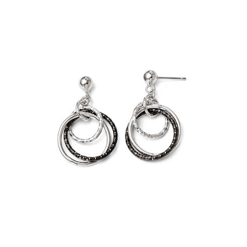 Sterling Silver Triple Tone Ring Earrings