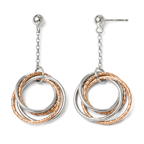 Sterling Silver Rose Gold-plated 18in Textured Circles Dangle Earrings