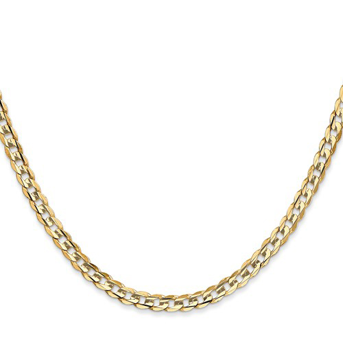 14kt Yellow Gold 24in Concave Curb Chain 3.8mm