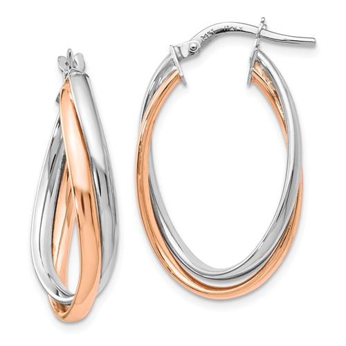 14k White and Rose Gold Italian Oval Hoop Earrings 1 1/2in