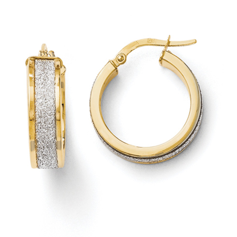 14kt Yellow Gold 3/4in Fancy Glitter Hoop Earrings