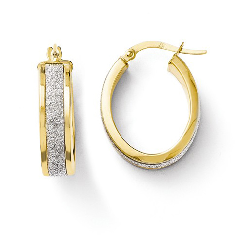 14kt Yellow Gold 7/8in Glitter Oval Hinged Hoop Earrings