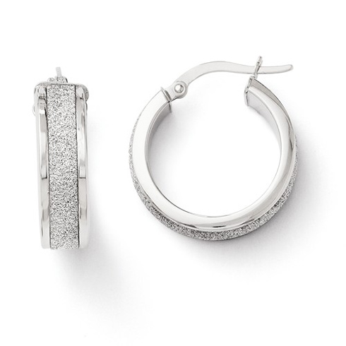 14kt White Gold 3/4in Italian Glitter Hoop Earrings
