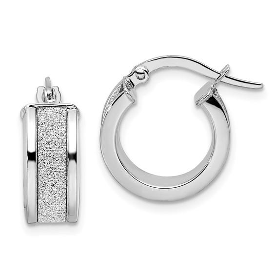 14kt White Gold 1/2in Italian Glitter Hoop Earrings