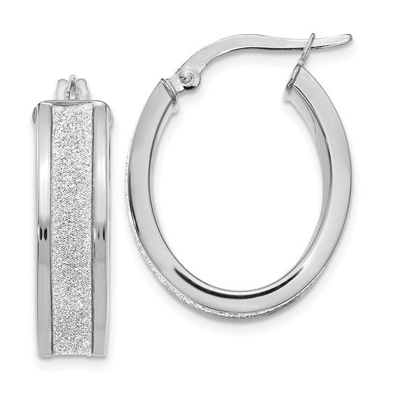 14kt White Gold 7/8in Glitter Oval Hinged Hoop Earrings