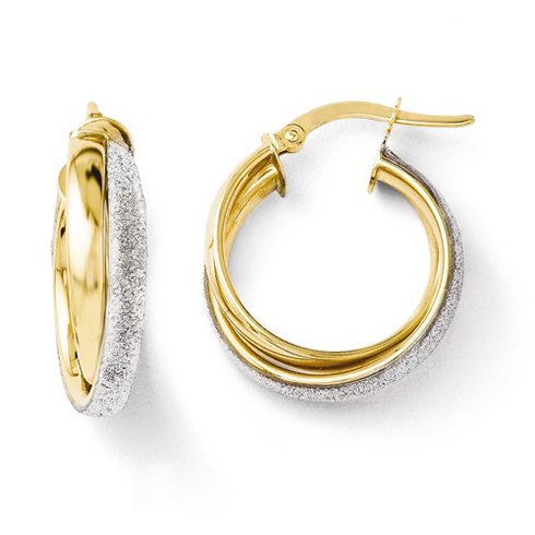 14kt Two-tone Gold 3/4in Glitter Wrapped Hoop Earrings