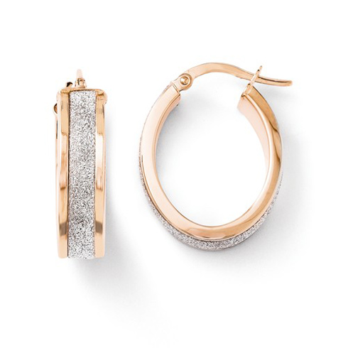 14kt Rose Gold 7/8in Glitter Oval Hinged Hoop Earrings