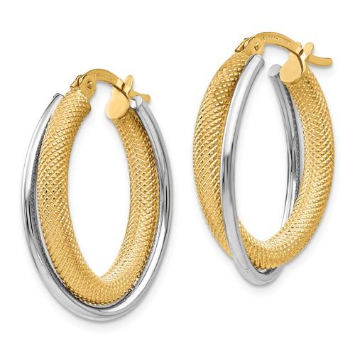 14k Two-tone Gold Oval Textured Hoop Earrings 1in