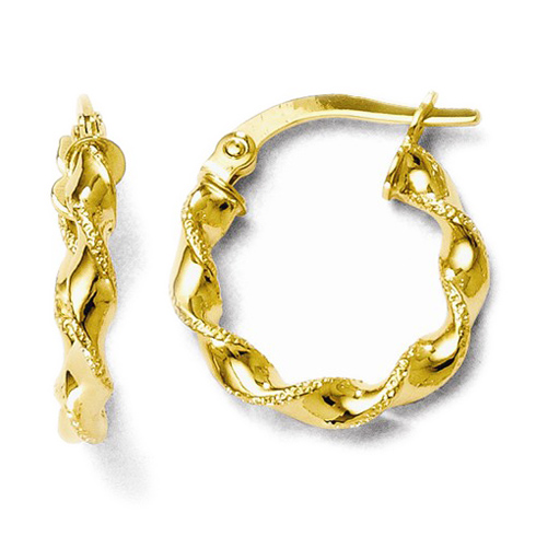 14kt Yellow Gold 5/8in Polished Twisted Grain Hoop Earrings