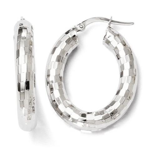 14kt White Gold 1in Mirror Finish Oval Hoop Earrings
