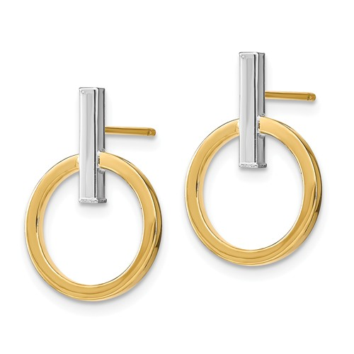 14k Two-tone Gold Italian Bar and Hoop Post Earrings