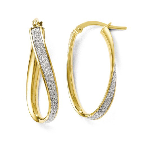 14kt Yellow Gold 1in Italian Glitter Twist Oval Hoop Earrings