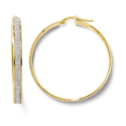14kt Yellow Gold 1 1/2in Italian Glitter Hoop Earrings