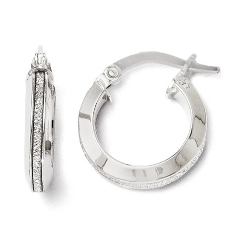 14kt White Gold 1/2in Italian Glitter Hoop Earrings