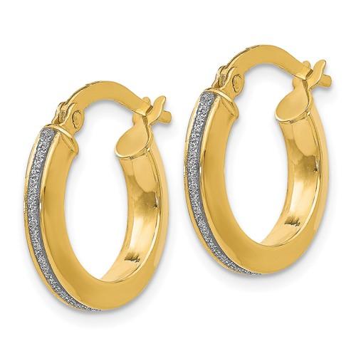14kt Yellow Gold 1/2in Italian Glitter Hoop Earrings