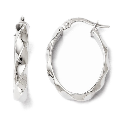 14kt White Gold 7/8in Polished Twisted Oval Hoop Earrings