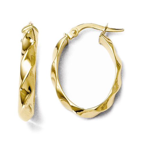 14kt Yellow Gold 7/8in Polished Twisted Oval Hoop Earrings