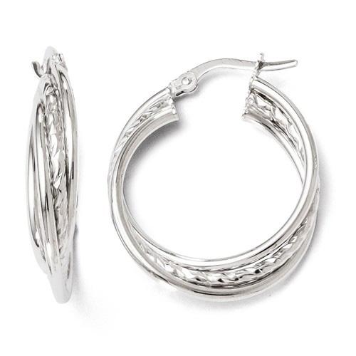 14kt White Gold 7/8in Textured Twist Hinged Hoop Earrings