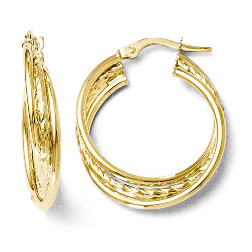 14kt Yellow Gold 7/8in Italian Polished and Textured Twist Hoop Earrings