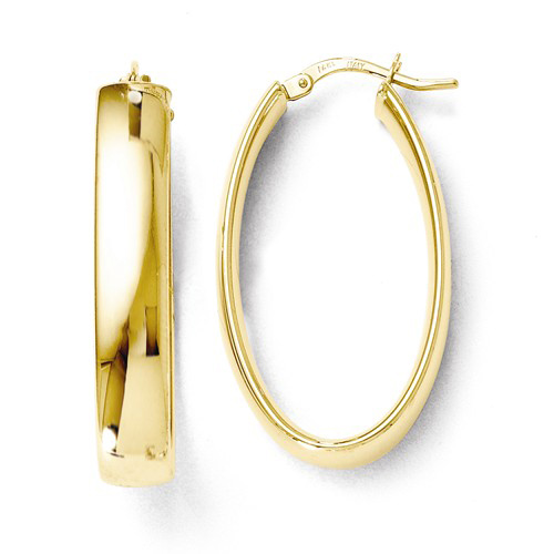 14kt Yellow Gold 1 1/4in Italian Oval Hoop Earrings 5.8mm
