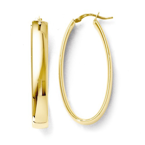 14kt Yellow Gold 1 5/8in Italian Oval Hoop Earrings 5.8mm