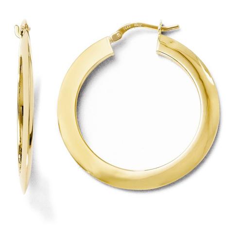 14kt Yellow Gold 1 1/4in Knife Edge Hoop Earrings 2mm