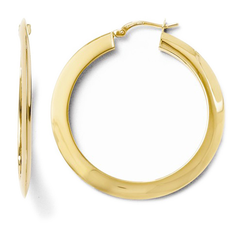 14kt Yellow Gold 1 1/2in Knife Edge Hoop Earrings 2mm