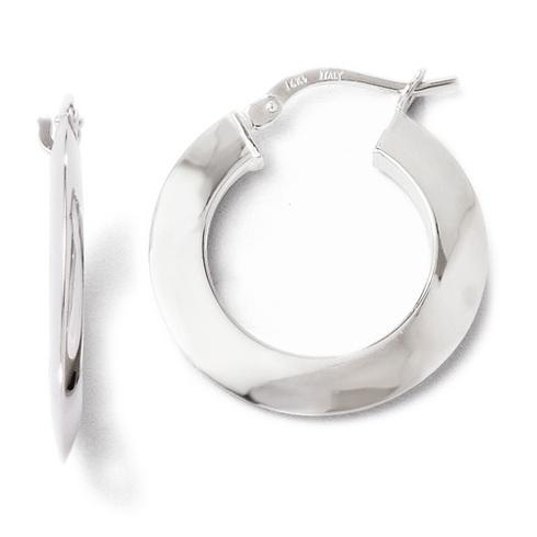 14kt White Gold 7/8in Knife Edge Hoop Earrings 2mm