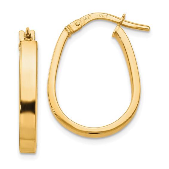 14kt Yellow Gold 3/4in Italian U-Shaped Hoop Earrings