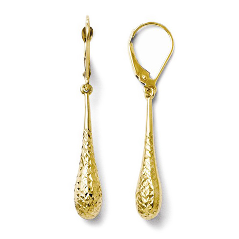 14kt Yellow Gold Diamond-cut Dangle Tear Drop Earrings