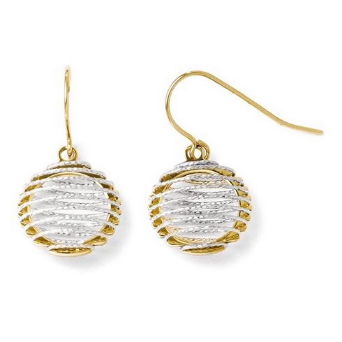 14kt Two-tone Gold Round Wire Wrapped Dangle Earrings