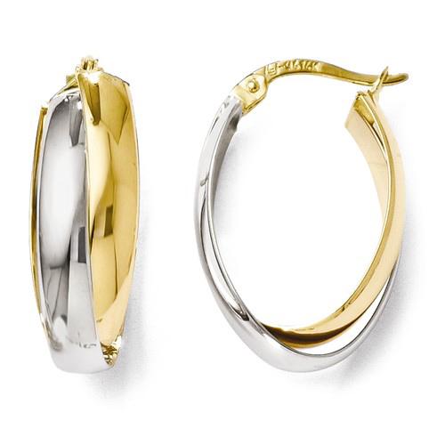 14k Two-tone Gold 7/8in Italian Polished Double Oval Hoop Earrings