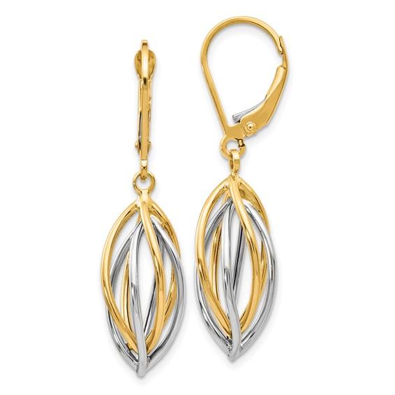 14kt Two-tone Gold Open Oval Basket Leverback Earrings