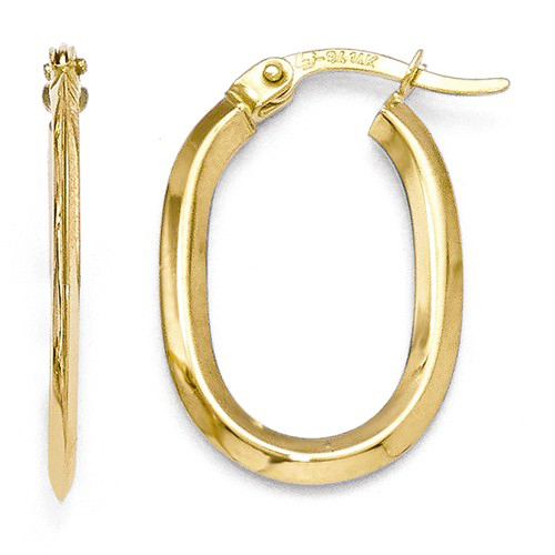 14kt Yellow Gold 3/4in Oval Hinged Hoop Earrings