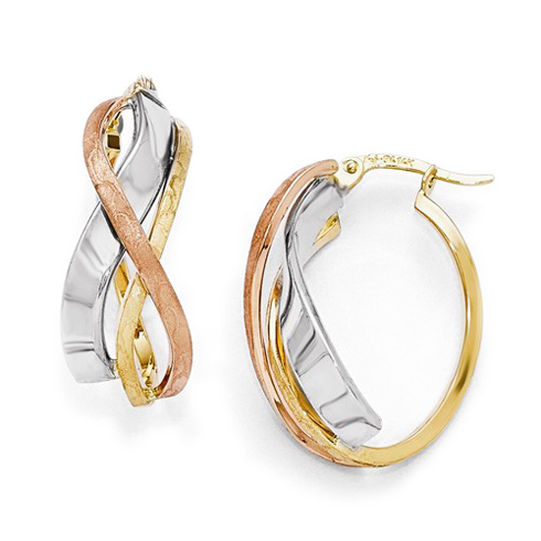14kt Tri-Color Gold 1in Polished Brushed Oval Hoop Earrings