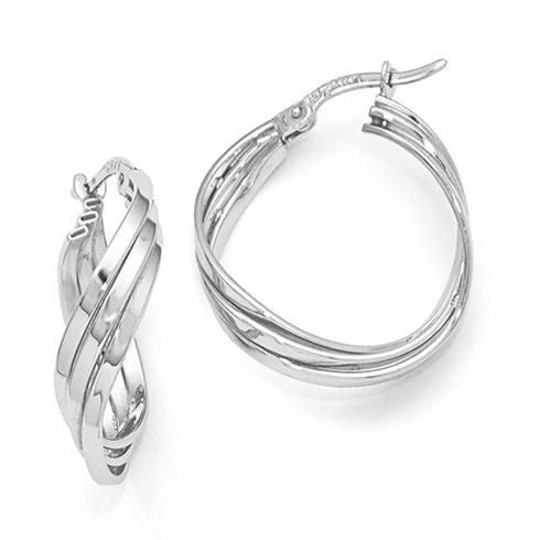14kt White Gold Fancy Twisted Hinged Hoop Earrings