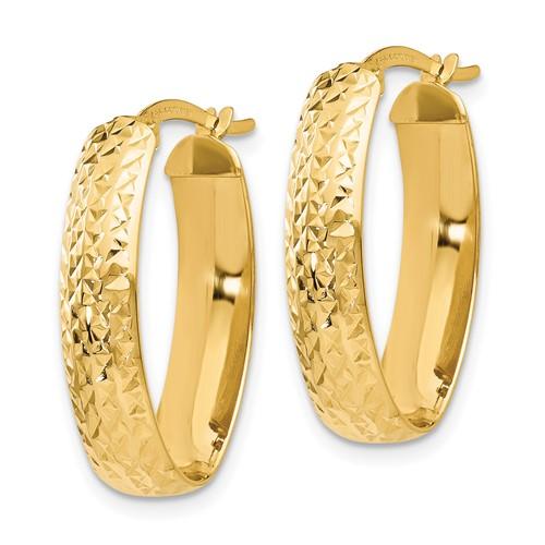 14kt Yellow Gold 7/8in Italian Diamond-cut Oval Hoop Earrings